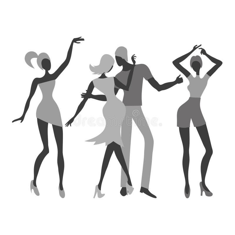 Grupo de gente de baile joven Ejemplo blanco y negro del vector stock de ilustración