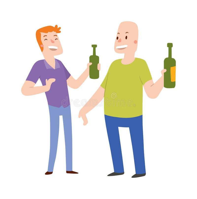 Grupo de gente de los alcohólicos de los amigos en un ejemplo de la barra libre illustration