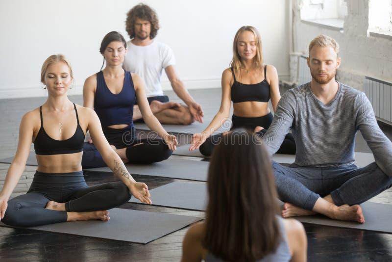Grupo de gente deportiva en el ejercicio de Lotus con el instructor de sexo femenino imágenes de archivo libres de regalías