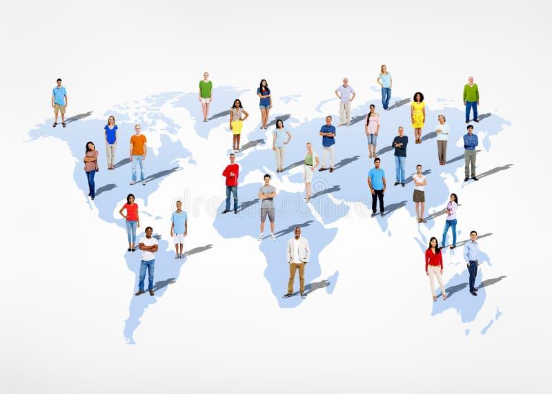 Grupo de gente diversa étnica multi del mundo stock de ilustración