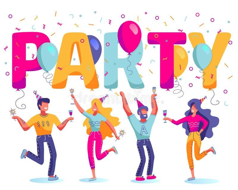 Grupo de gente feliz, alegre que celebra el d?a de fiesta, acontecimiento Los caracteres del hombre y de la mujer en el baile del stock de ilustración