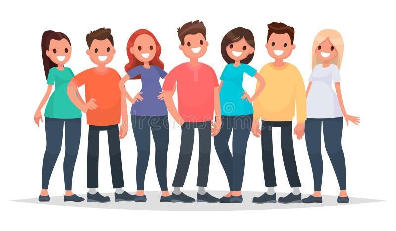 Grupo de gente feliz en ropa casual en un fondo blanco V ilustración del vector