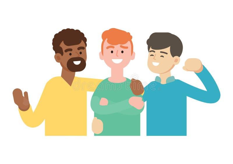 Grupo de gente joven, amigo feliz, concepto del trabajo en equipo, ejemplo del vector stock de ilustración