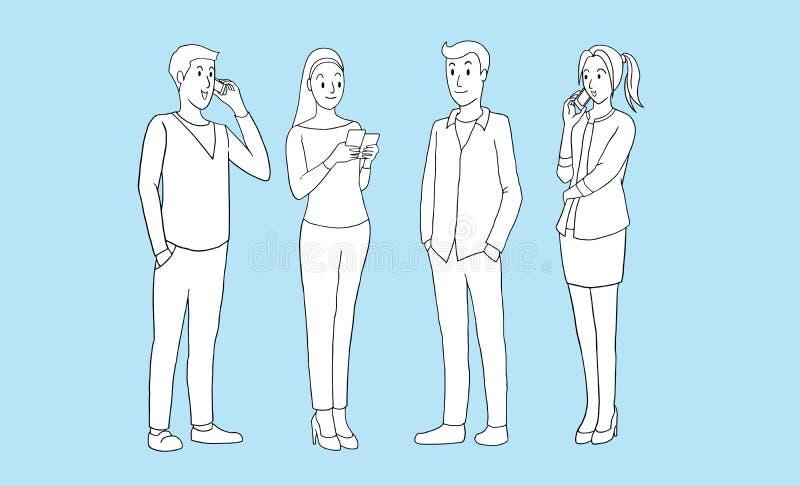 Grupo de gente joven con los artilugios elegantes del teléfono en un fondo azul desi dibujado mano aislado de la historieta del e ilustración del vector