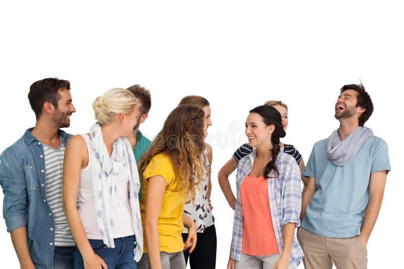 Grupo de gente joven feliz ocasional vestida fotos de archivo
