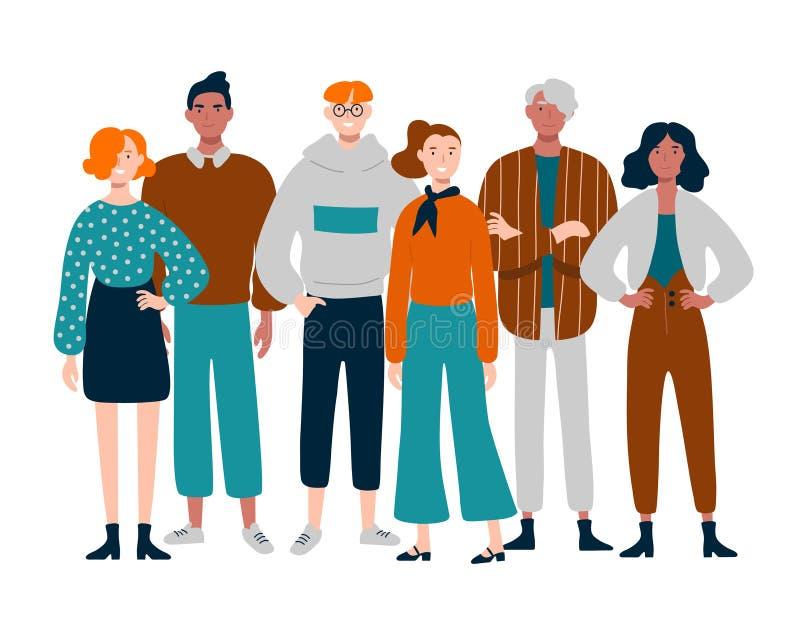 Grupo de gente joven, de mediana edad diversa que se une ilustración del vector