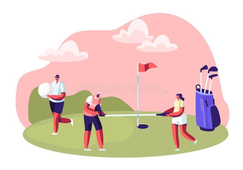 Grupo de gente joven que juega a golf en curso con la hierba verde, Flagstick, el agujero y el equipo profesional, juego del depo stock de ilustración