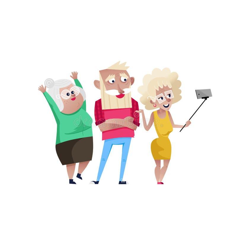 Grupo de gente madura sonriente que hace el selfie stock de ilustración