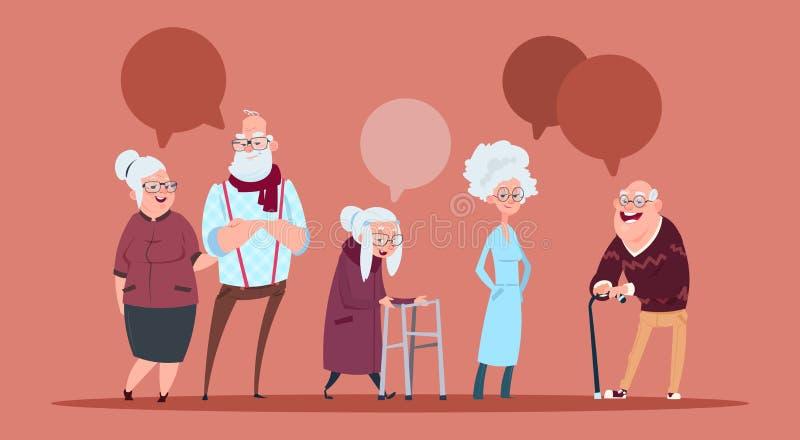 Grupo de gente mayor con la burbuja de la charla que camina con el abuelo moderno y la abuela del palillo integrales ilustración del vector