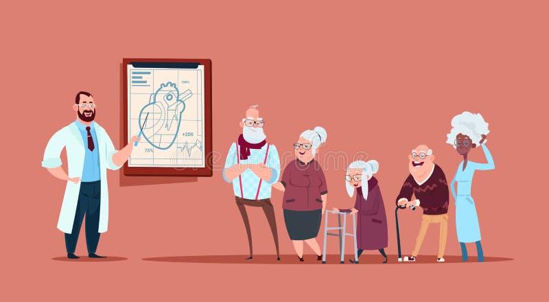 Grupo de gente mayor en la consulta con el doctor, pensionistas en concepto de la atención sanitaria del hospital stock de ilustración
