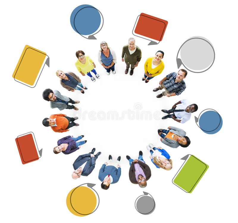 Grupo de gente Multi-étnica que mira para arriba stock de ilustración