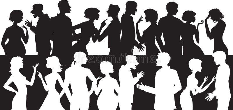 Grupo de gente que habla libre illustration