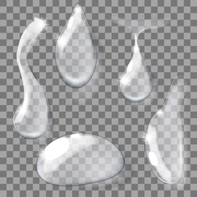 Grupo de gotas claras puras realísticas transparentes da água ilustração do vetor