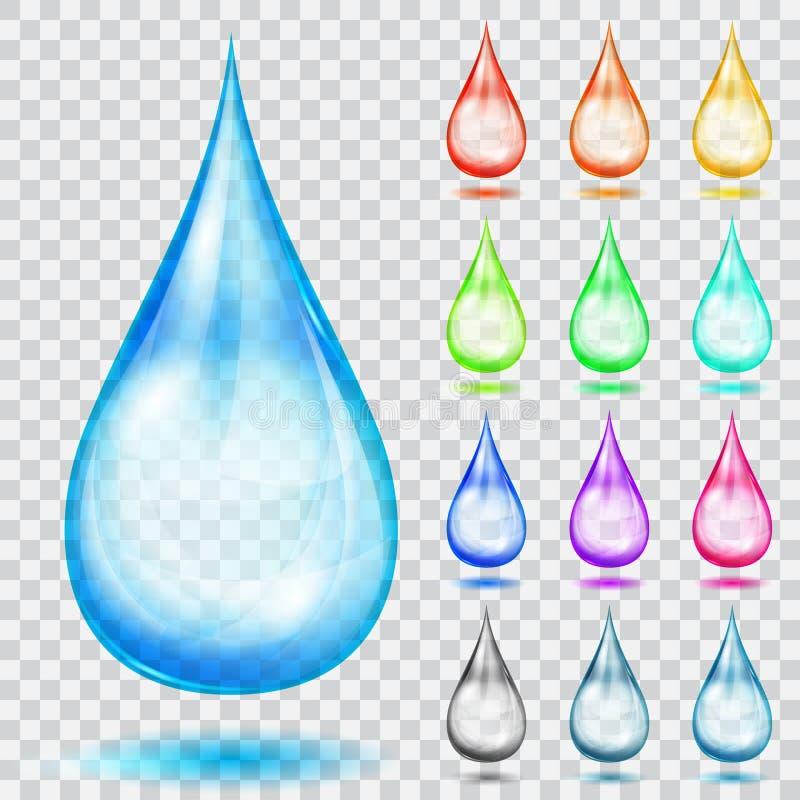 Grupo de gotas coloridos transparentes ilustração do vetor