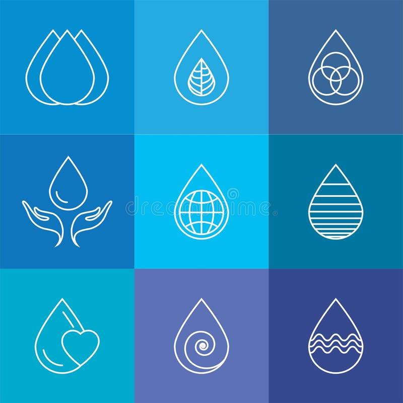 Grupo de gotas da água & de vetor da natureza - moldes do logotipo & l abstratos ilustração royalty free