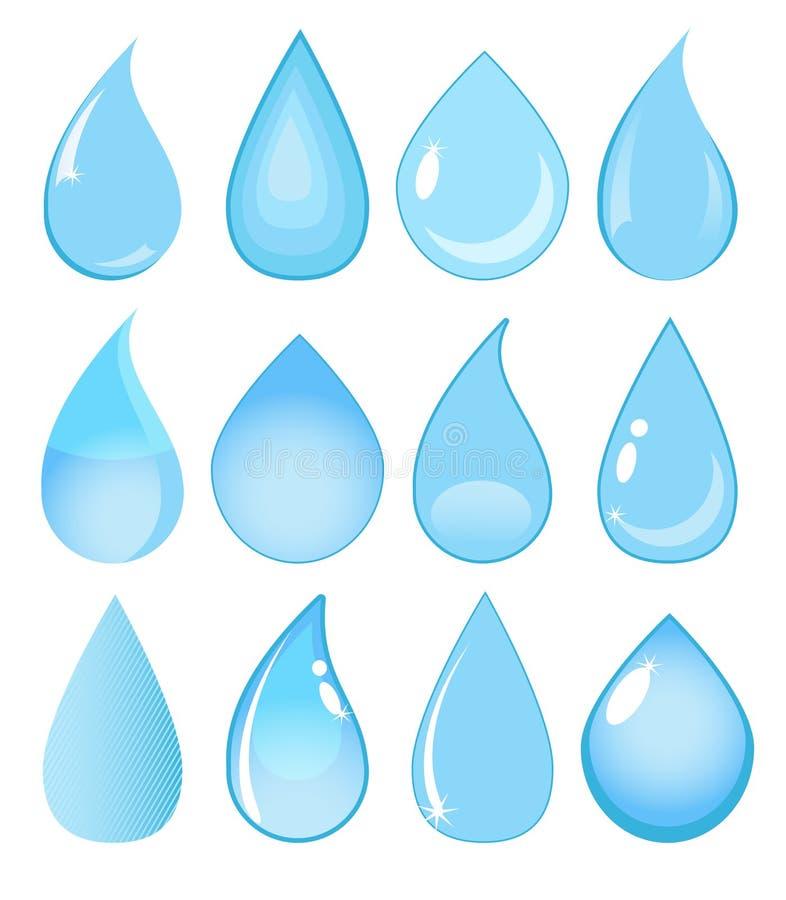 Grupo de gotas da água do vetor ilustração do vetor