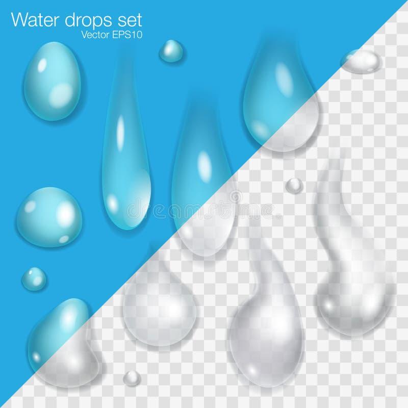Grupo de gotas diferentes da água ilustração royalty free