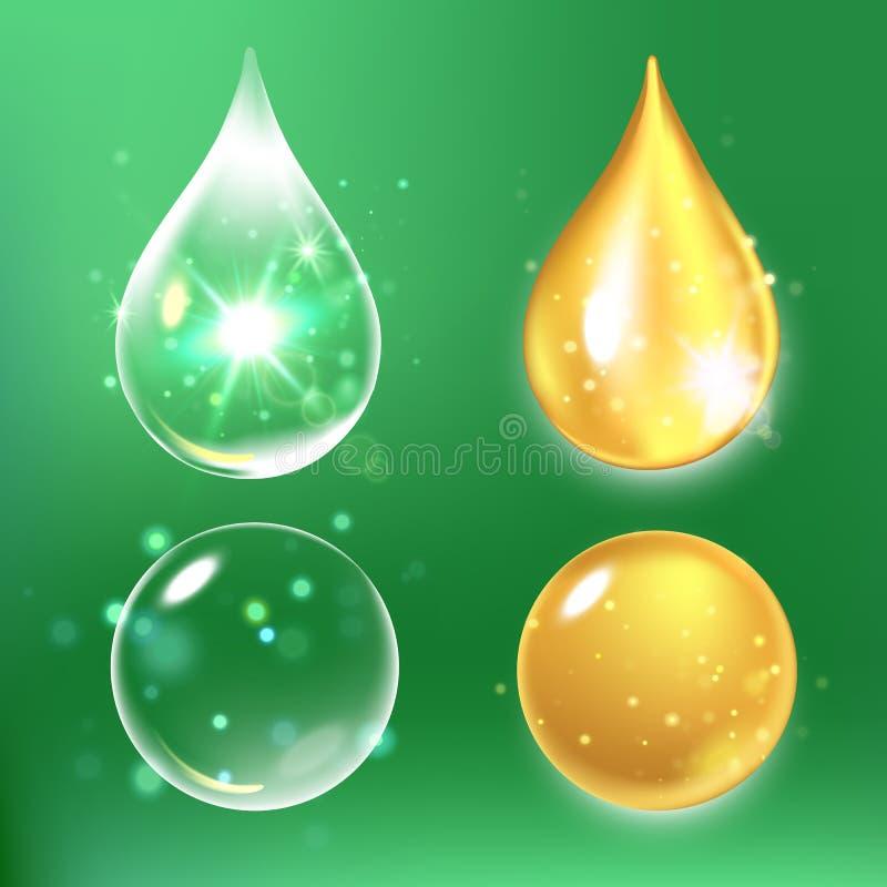 Grupo de gotas do soro e da vitamina do colagênio ilustração stock