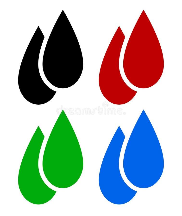Grupo de gotas líquidas Óleo, sangue, combustível biológico, símbolos da gota da água ilustração royalty free
