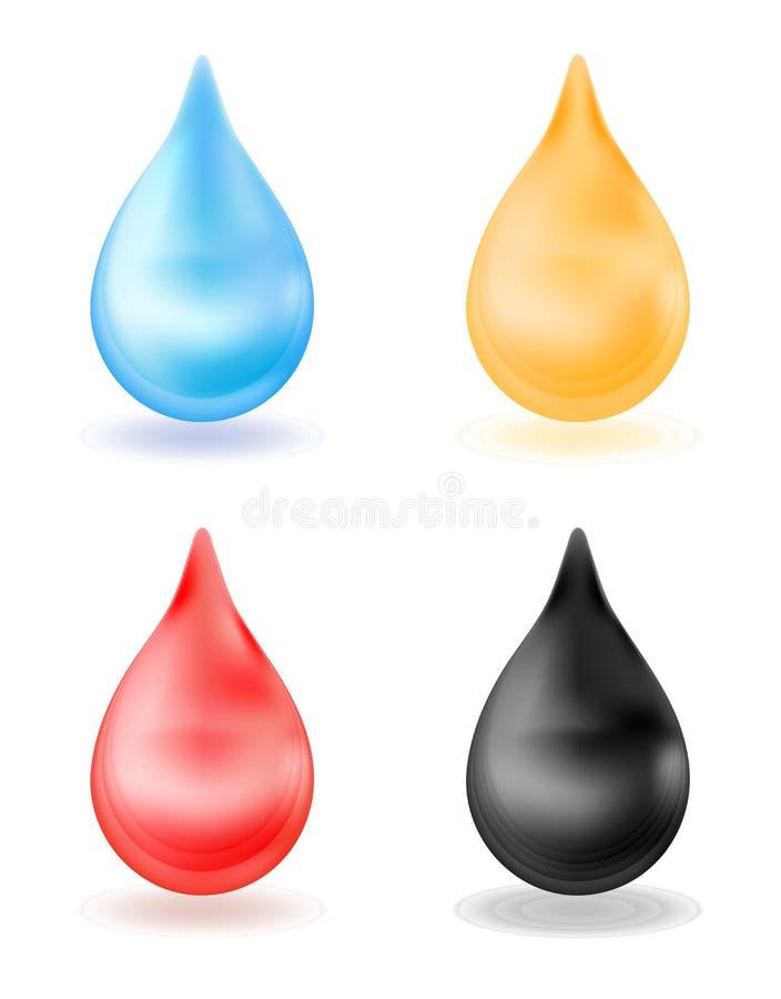 Grupo de gotas realísticas, amarelo, azul, vermelho, preto gota 3d isolada no fundo branco Água, sangue, óleo, mel Vetor ilustração stock