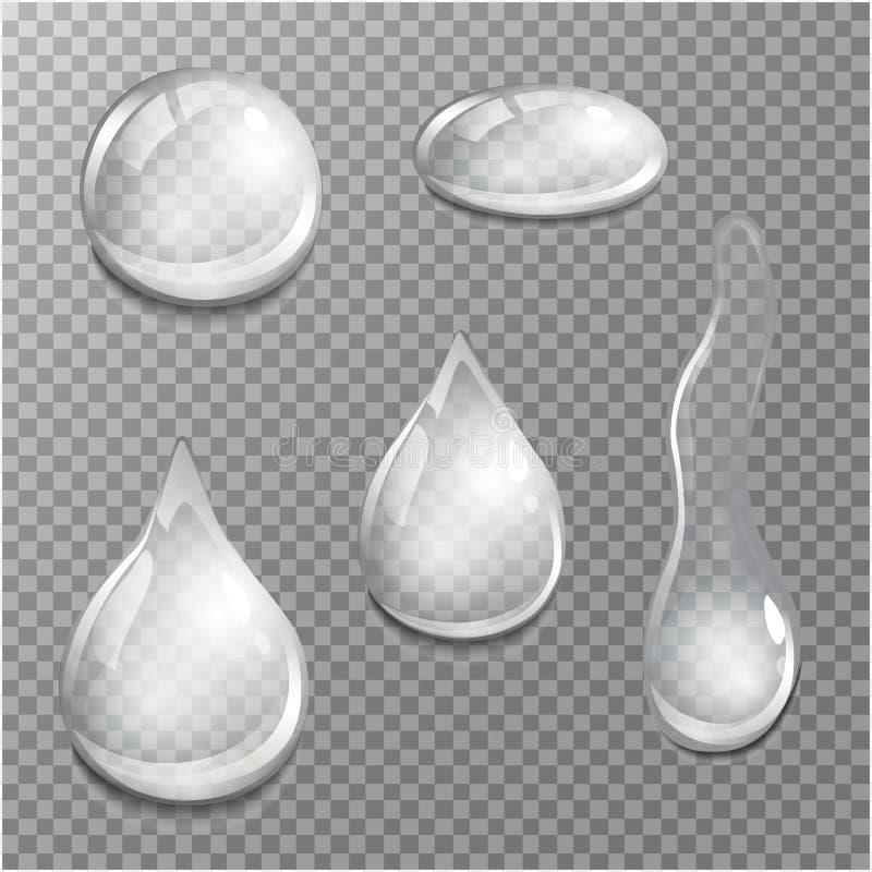 Grupo de gotas transparentes em cores cinzentas Transparência somente no formato do vetor ilustração royalty free