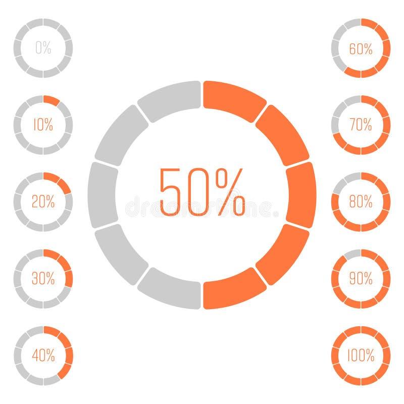 Grupo de gráfico de setores circulares do anel com valor da porcentagem Análise de desempenho em percentagem Infographic cinzento ilustração stock