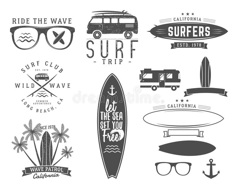 Grupo de gráficos e de emblemas surfando do vintage para o design web ou a cópia Surfista, projeto do logotipo do estilo da praia ilustração royalty free