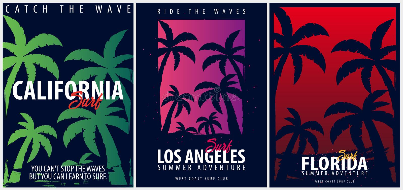 Grupo de gráficos surfando de Califórnia com palmas Projeto e cópia do t-shirt ilustração royalty free