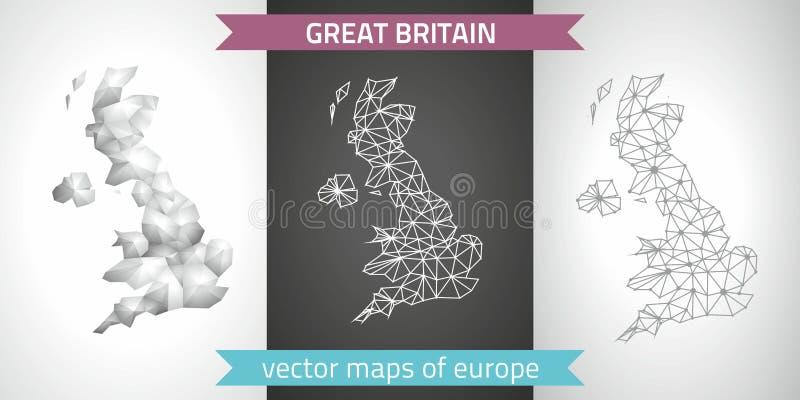 Grupo de Grâ Bretanha de cinza e de mapas poligonais do mosaico 3d da prata ilustração royalty free