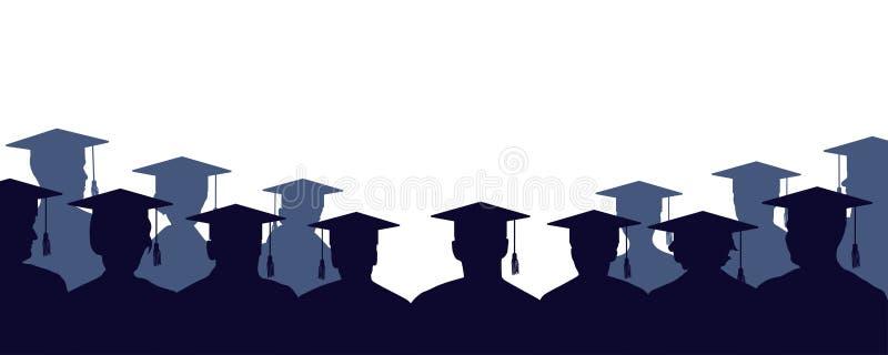 Grupo de graduados da universidade Multidão de povos dos estudantes, nos envoltórios ilustração stock