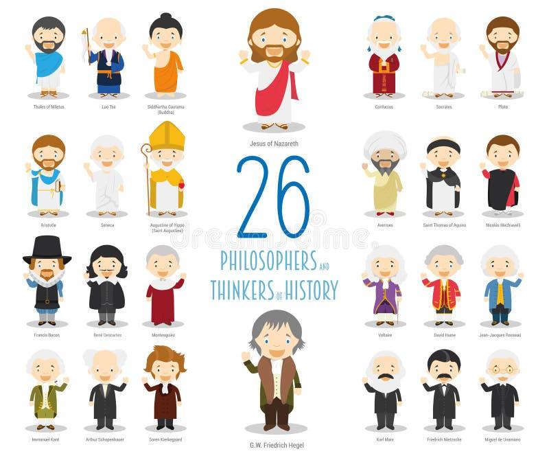 Grupo de 26 grandes pensadores de Philosophersand da história no estilo dos desenhos animados ilustração do vetor