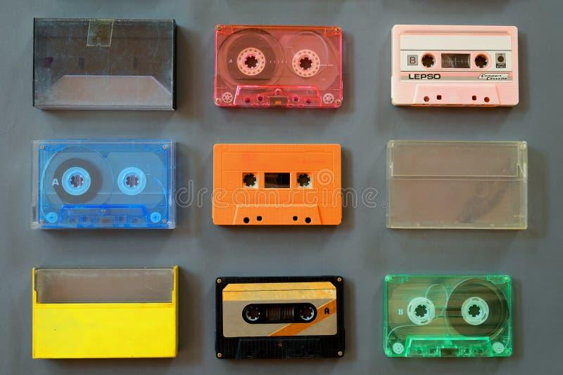 Grupo de gravador de cassetes da fita do vintage imagem de stock royalty free
