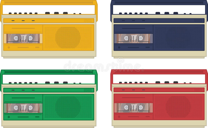 Grupo de 4 gravadores retros do vintage colorido imagens de stock royalty free