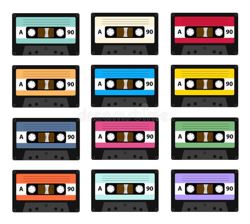 Grupo de gravadores velhos da cassete áudio usados nos anos 80 do século XX Pode ser usado como uma ilustração do ilustração royalty free