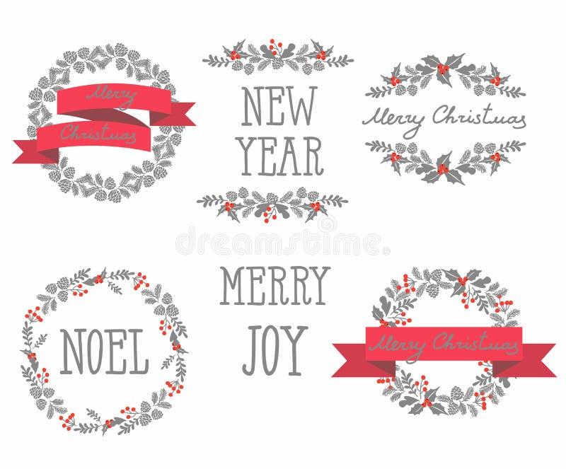 Grupo de grinaldas do Natal do inverno, elementos do projeto ilustração stock
