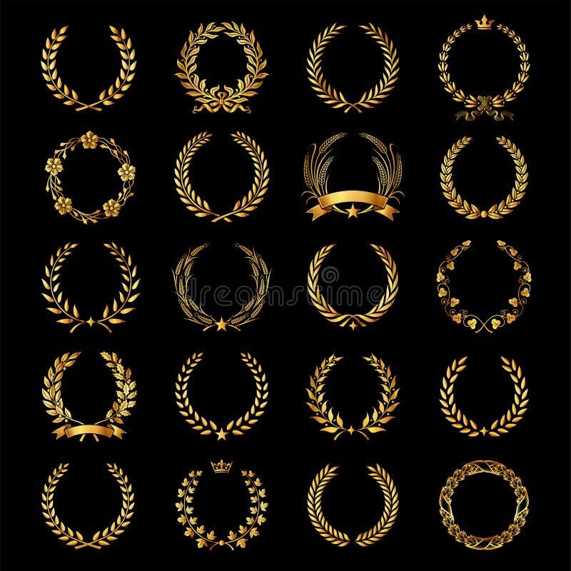 Grupo de grinaldas douradas do louro do vetor ilustração stock