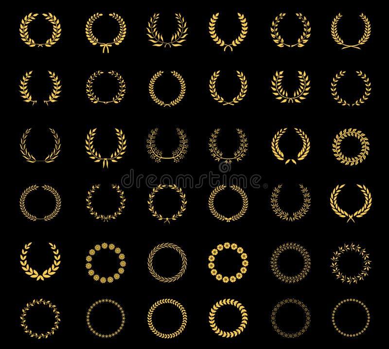 Grupo de grinaldas florais e de quadros do trigo do louro ilustração stock