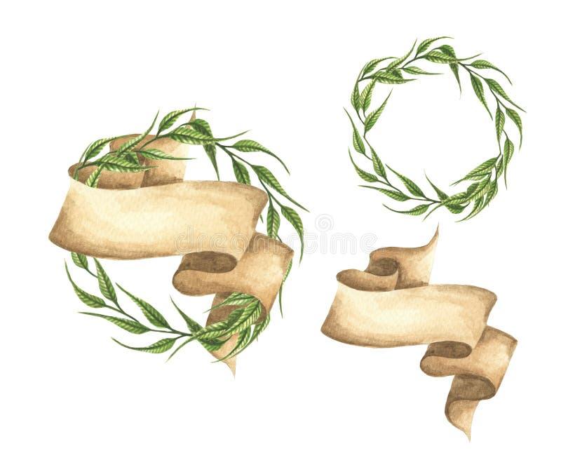 Grupo de grinaldas verdes tiradas m?o das folhas com fita ilustração stock
