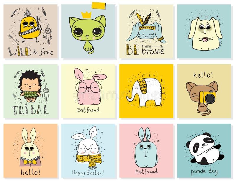 Grupo de grupo do animal do cyte ilustração royalty free
