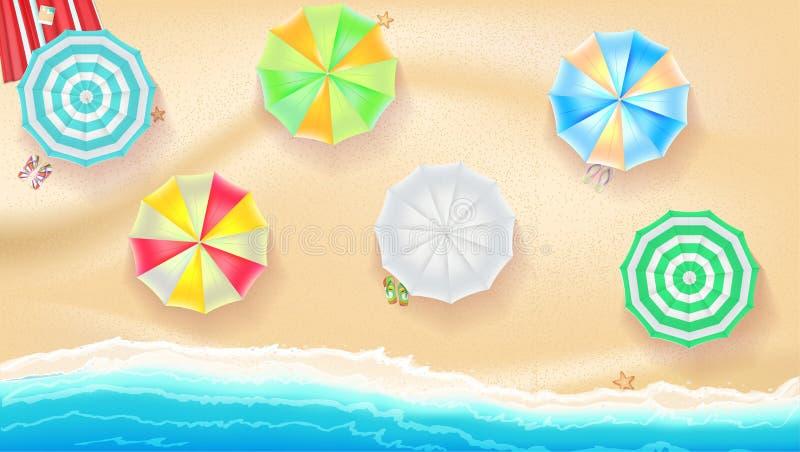 Grupo de guarda-chuvas de praia coloridos no fundo uma areia perto da ressaca do mar ilustração do vetor