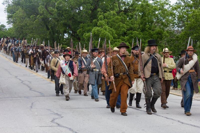 Grupo de guerra civil Reenactors imagens de stock