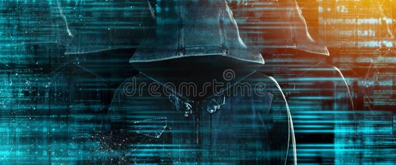 Grupo de hacker de computador encapuçados com caras obscurecidas fotografia de stock