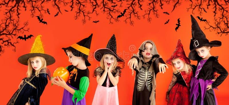 Grupo de Halloween de trajes das meninas das crianças fotos de stock royalty free