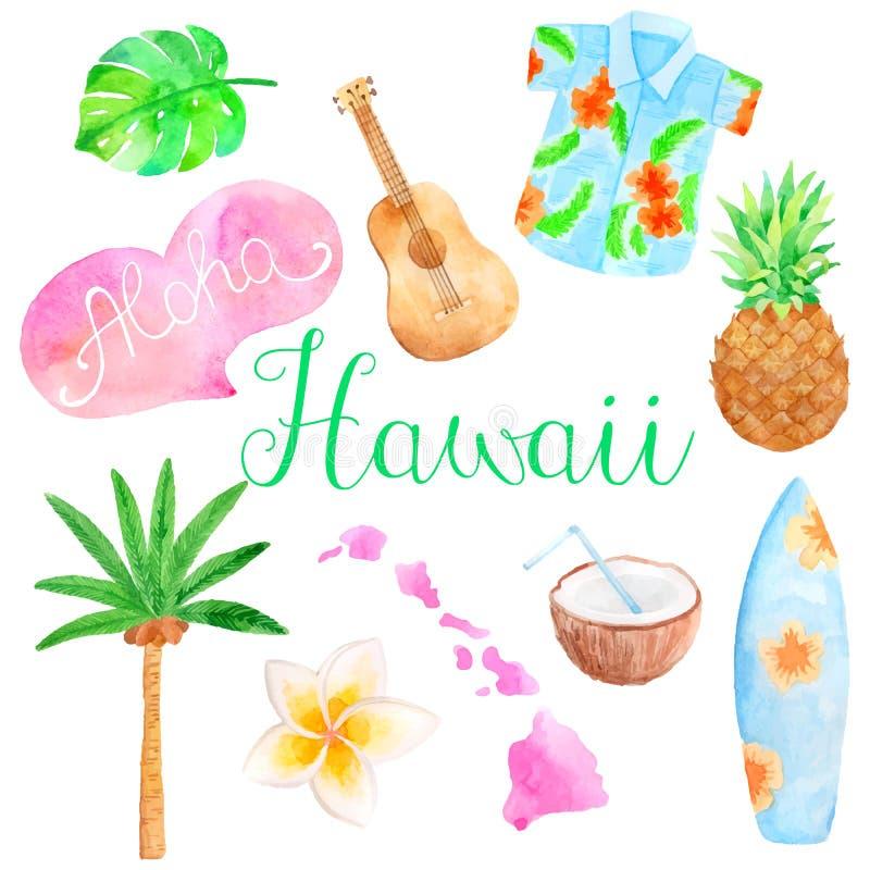 Grupo de Havaí da aquarela ilustração stock