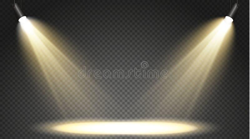 Grupo de holofotes coloridos em um fundo transparente Iluminação brilhante com projetores O holofote é branco, azul ilustração stock