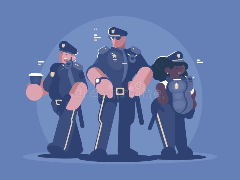 Grupo de hombre y de mujer de la policía stock de ilustración