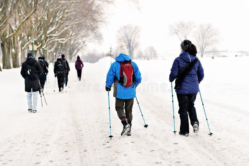 Grupo de hombre y de mujeres durante caminar en la estación del invierno de la parte posterior imagen de archivo libre de regalías