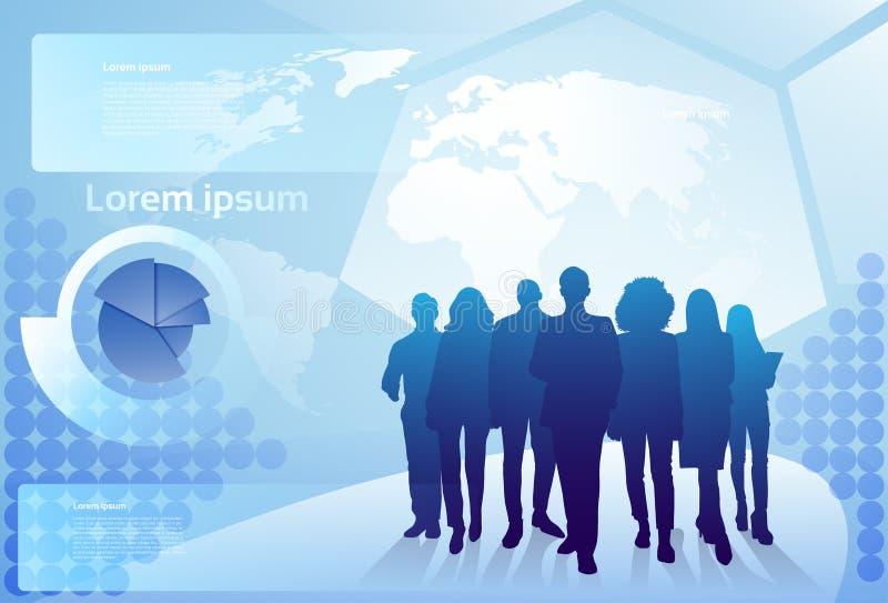Grupo de hombres de negocios de la silueta que camina sobre los empresarios Team Concept del fondo del mapa del mundo stock de ilustración