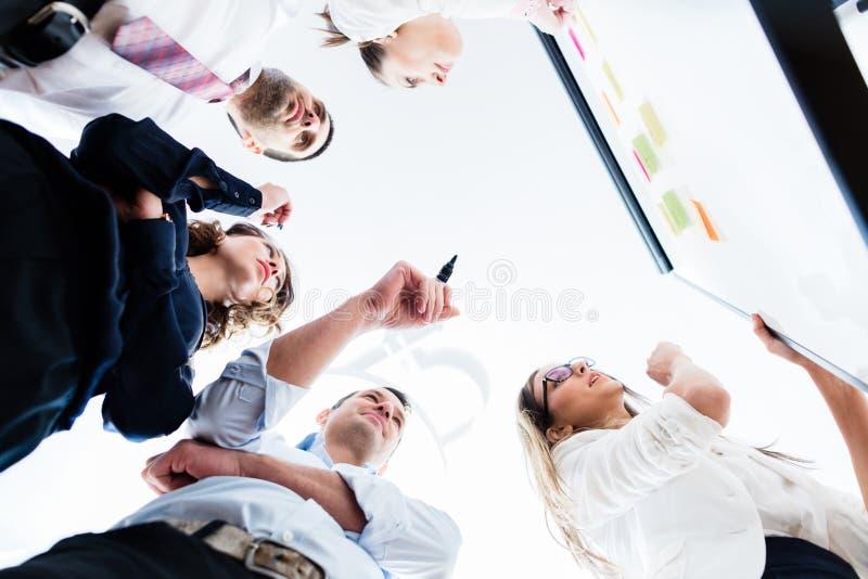 Grupo de hombres de negocios en oficina en la reunión de reflexión creativa imagen de archivo