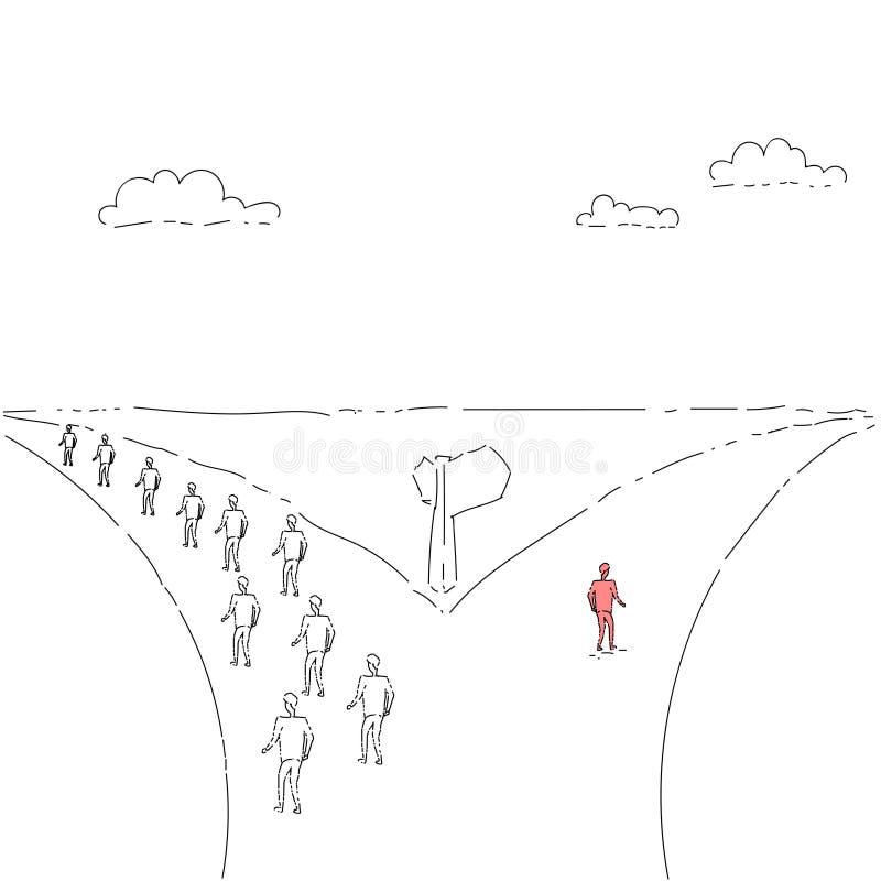 Grupo de hombres de negocios que caminan en Rad Direction Choosing Concept stock de ilustración